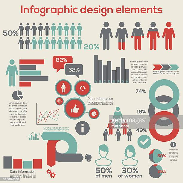 infographic design elements - number stock illustrations