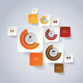 Infographic Design - Round Square Labels with Diagrams