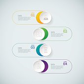 Infographic design template and marketing icons on the grey background.