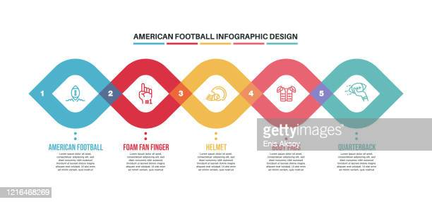 infographic design template with american football keywords and icons - touchdown stock illustrations