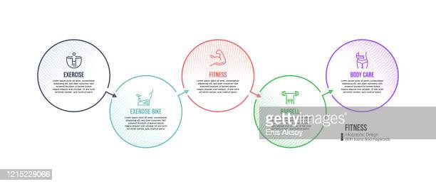 infographic design template with fitness keywords and icons - leisure facilities stock illustrations