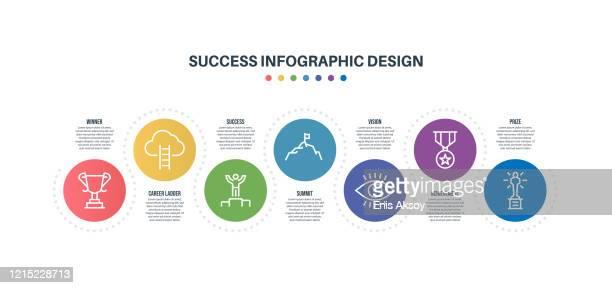 infografik-designvorlage mit erfolgsschlüsselwörtern und icons - winners podium stock-grafiken, -clipart, -cartoons und -symbole