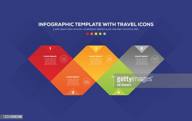 infographic design with travel icons - id card template stock illustrations