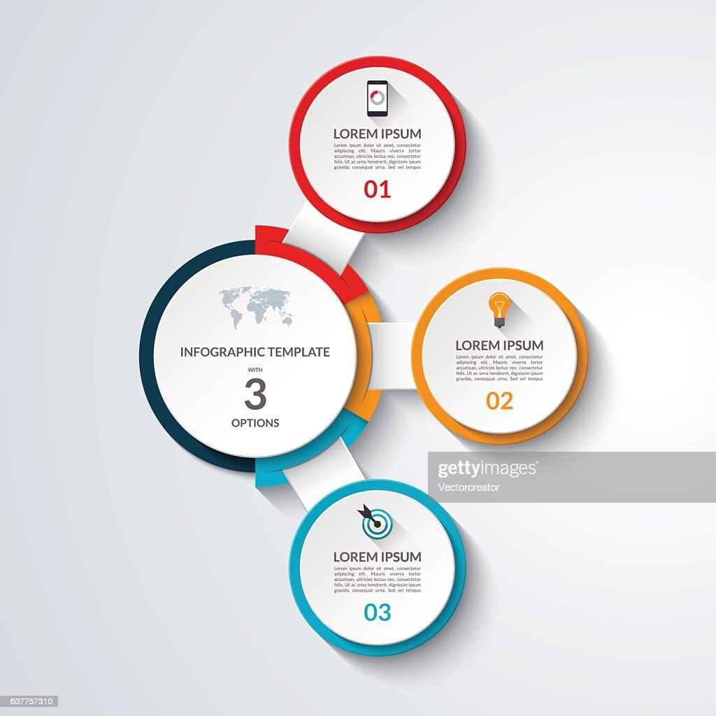 Infographic diagram template. 3 options business concept