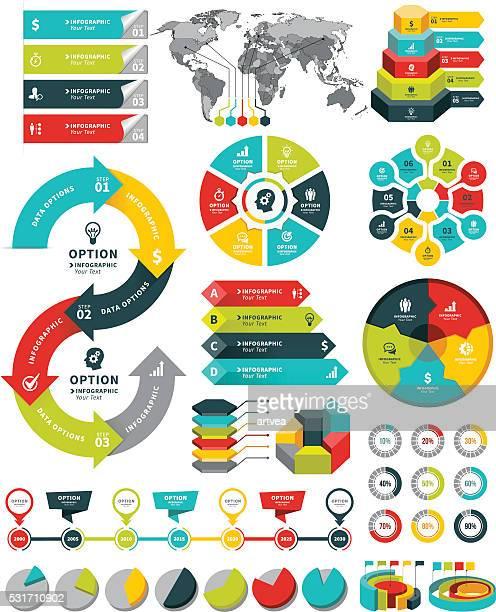 Conjunto de elementos de infografía y plazos