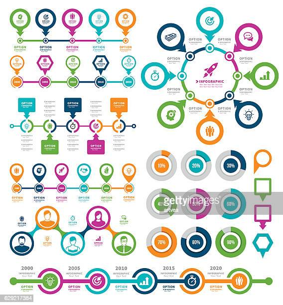 infographic elements and timeline set - time line stock illustrations, clip art, cartoons, & icons