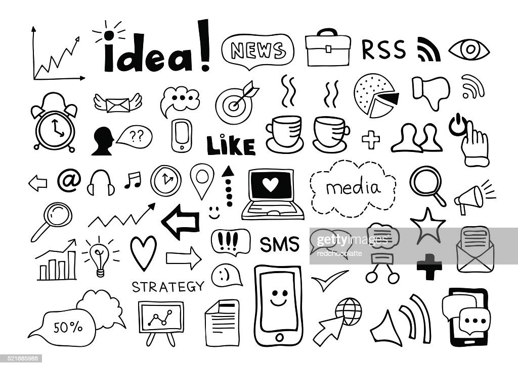 Infographic elements. Business and office hand drawn vector doodles