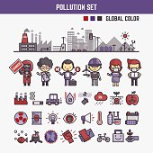 infographic elements for kids about pollution