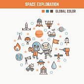 infographic elements for kids about space exploration