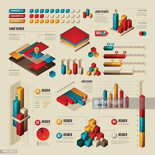 ilustrações, clipart, desenhos animados e ícones de elementos para infográficos-retangular e cubos - gráfico de barras