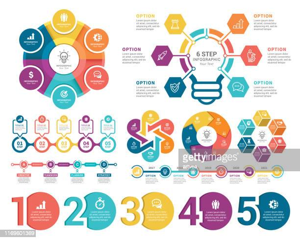 infographic elements - number stock illustrations