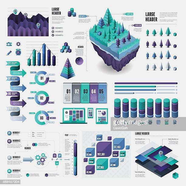 infographic elements - big data center stock illustrations