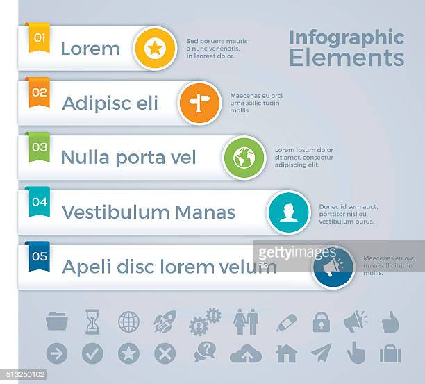 infographic elements - five objects stock illustrations