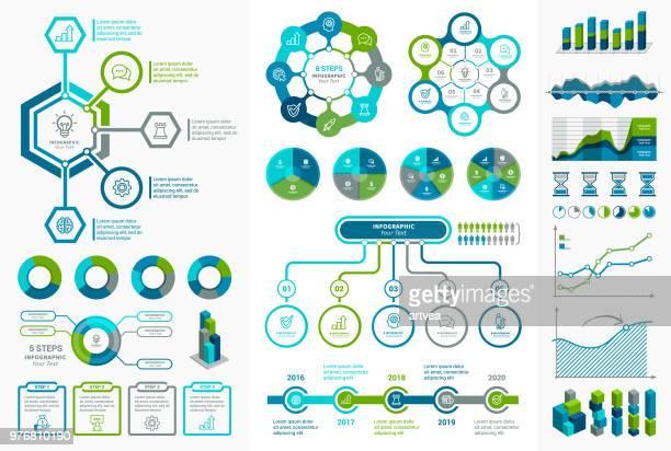 ilustrações de stock, clip art, desenhos animados e ícones de infographic elements - fluxograma