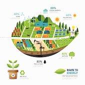 Infographic energy leaf shape template design.