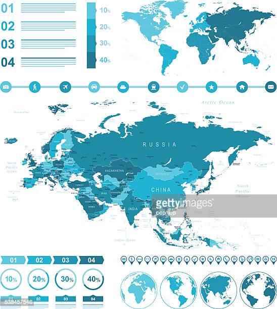 インフォグラフィックユーラシア大陸マップ
