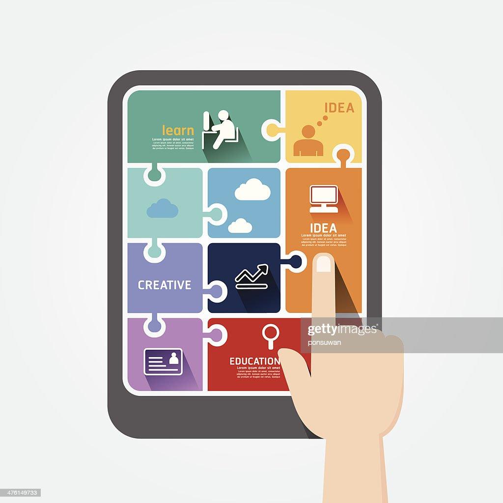 infographic finger push tablet Template jigsaw banner.