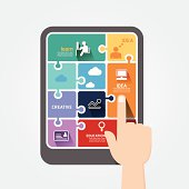 infographic finger push tablet Template jigsaw banner.