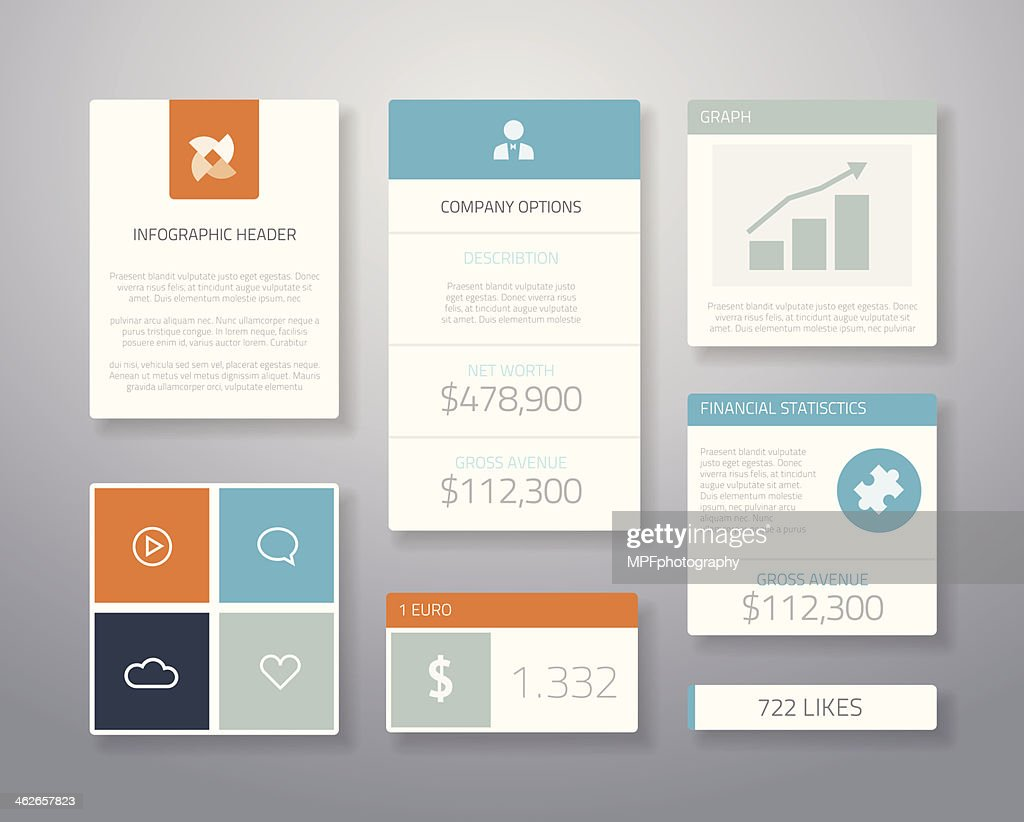 Infographic flat financial business ui elements vector illustration
