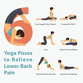 Infographic for Yoga poses to relieve lower back pain in flat design.