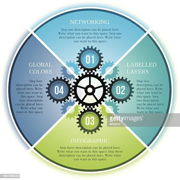 infographic four step cogs design - machine part stock illustrations