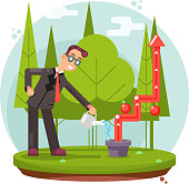 Infographic Growth Cultivate Success Businessman Watering Plant Flat Design Vector