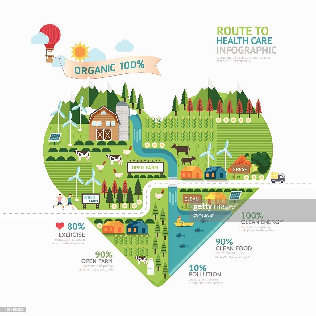 Infographic Health Care Heart Shape Template Design Vector Art