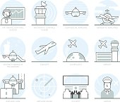 Infographic Icons Elements about Airport and Aircrafts