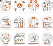 Infographic Icons Elements about Digital Marketing Strategy