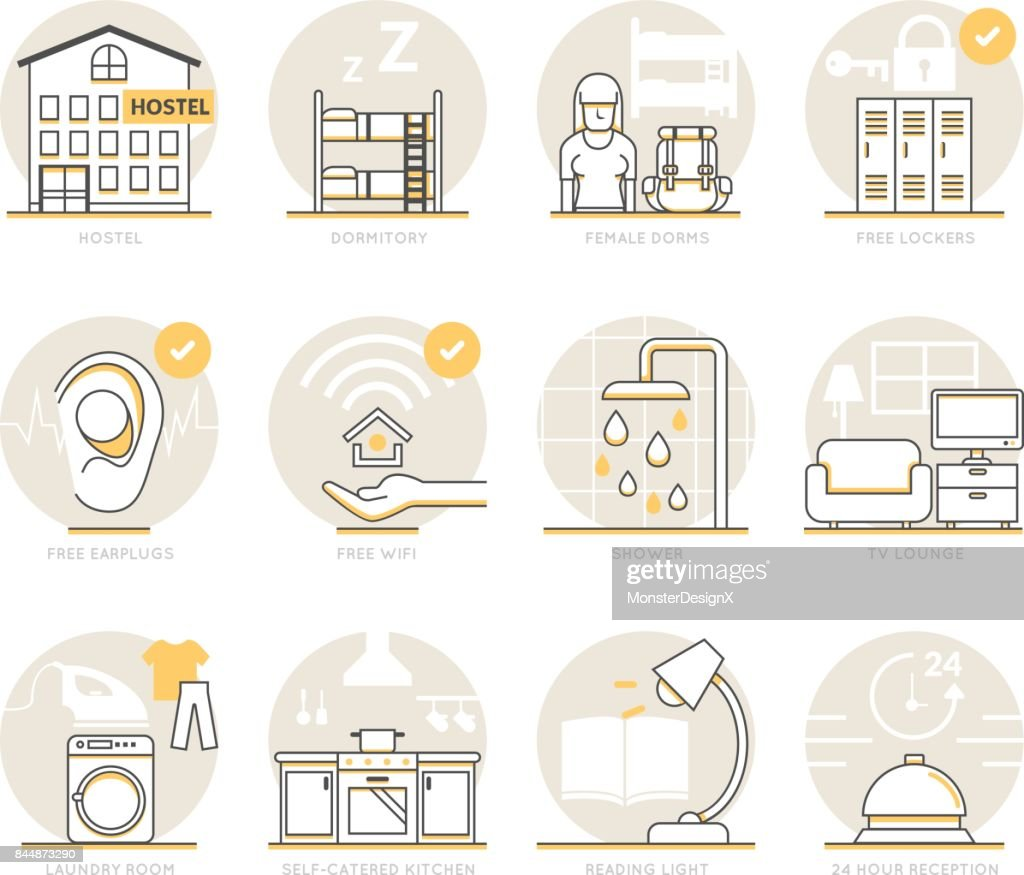 Infographic Icons Elements about Hostel Services.