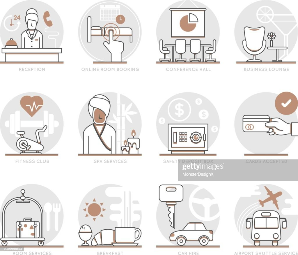 Infographic Icons Elements about Hotel Services