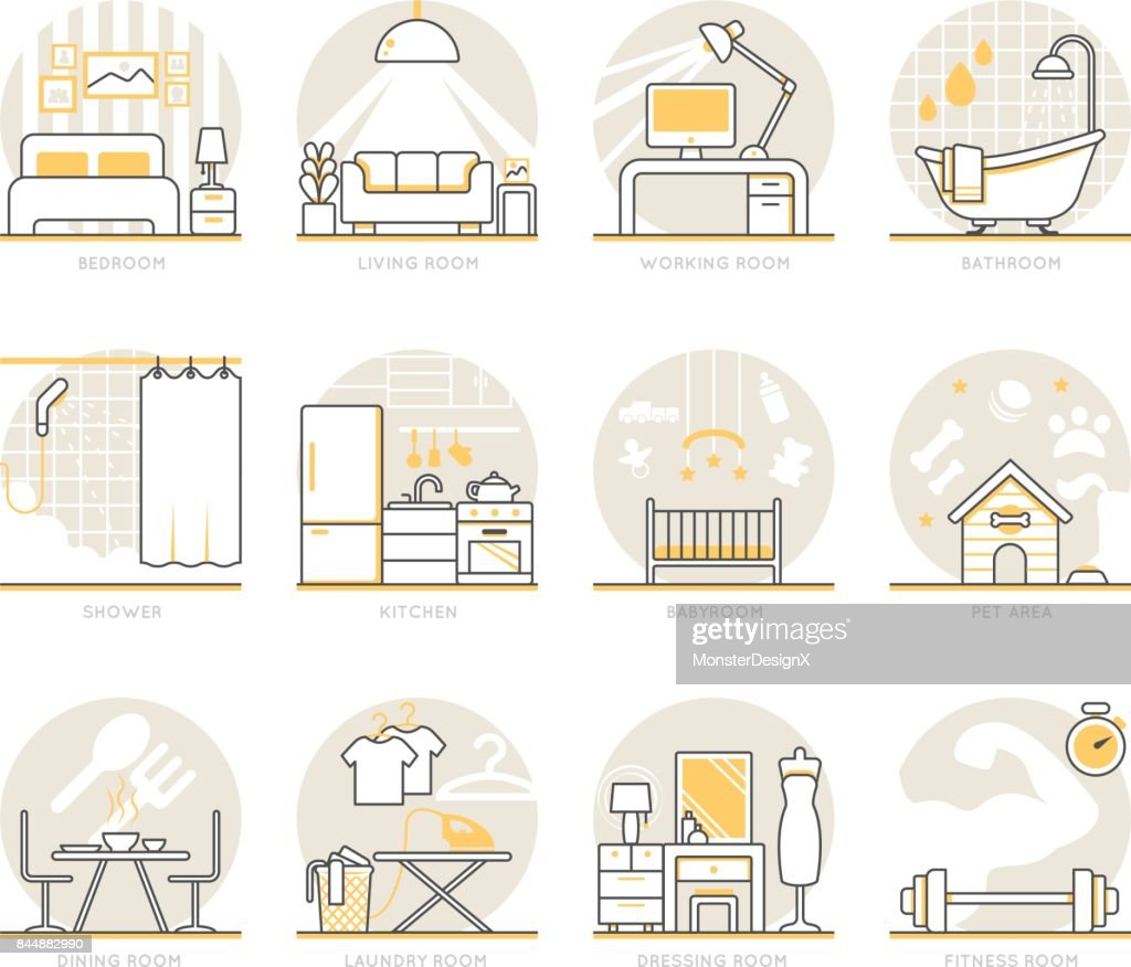 Infographic Icons Elements about Interior Design