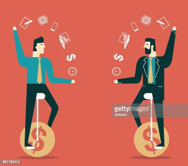 infographic juggle - businessman - juggling stock illustrations, clip art, cartoons, & icons