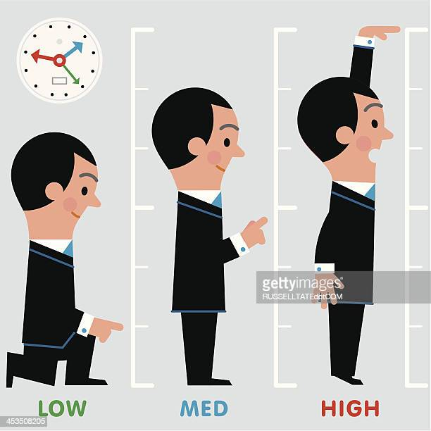 infographic low-med-high man - tall high stock illustrations