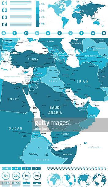 Infographic Map of Middle East
