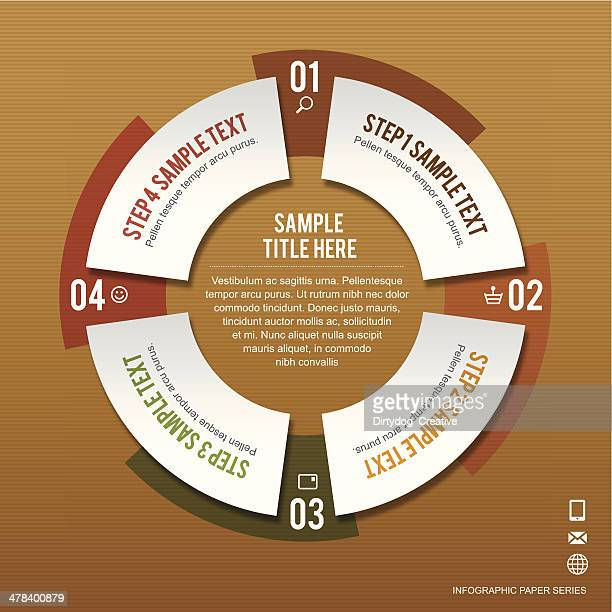 infographic of buying process in four steps on brown paper - four objects stock illustrations