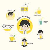 Infographic of healthy, 8 ways to prevent headache, Presentation