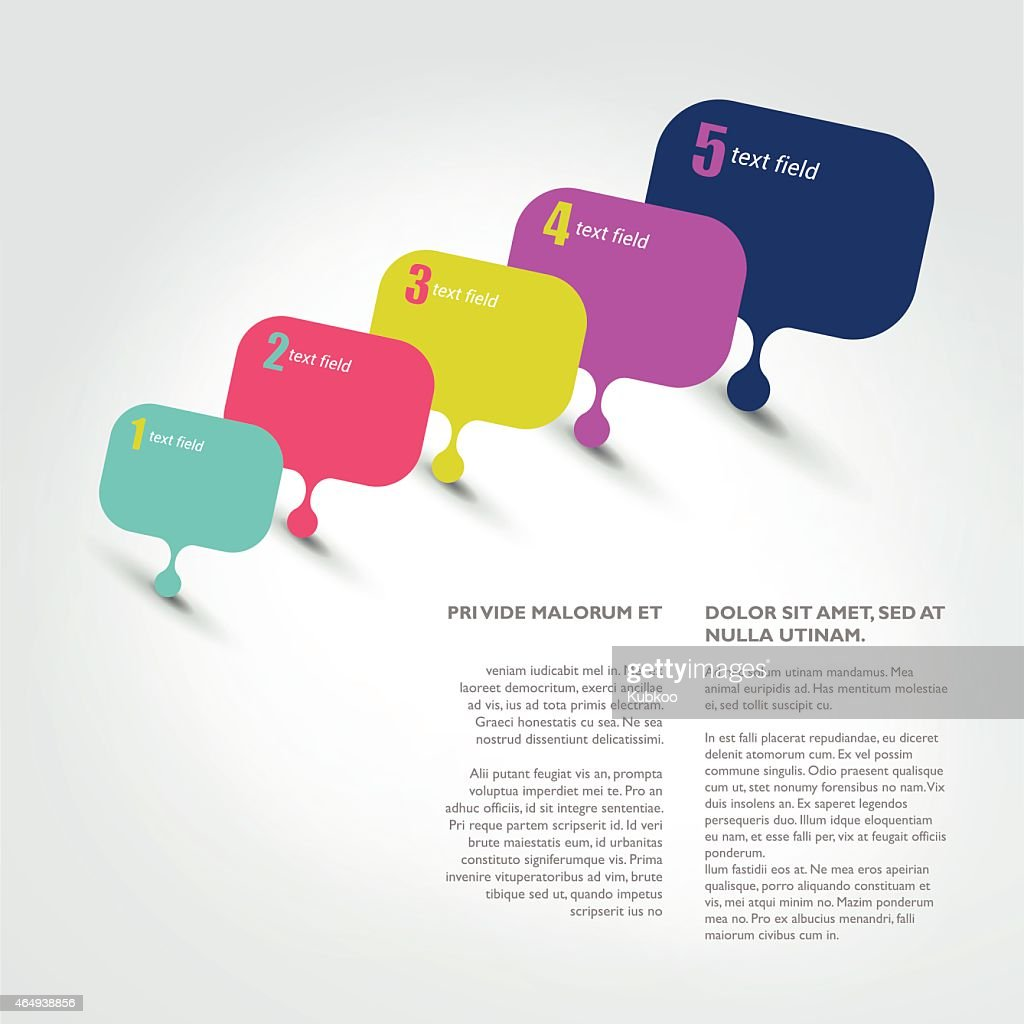 Infographic of speech bubbles numbered sequentially in color