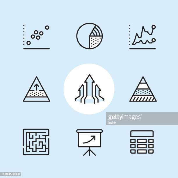 infografie-icon-set - zwischenbericht stock-grafiken, -clipart, -cartoons und -symbole