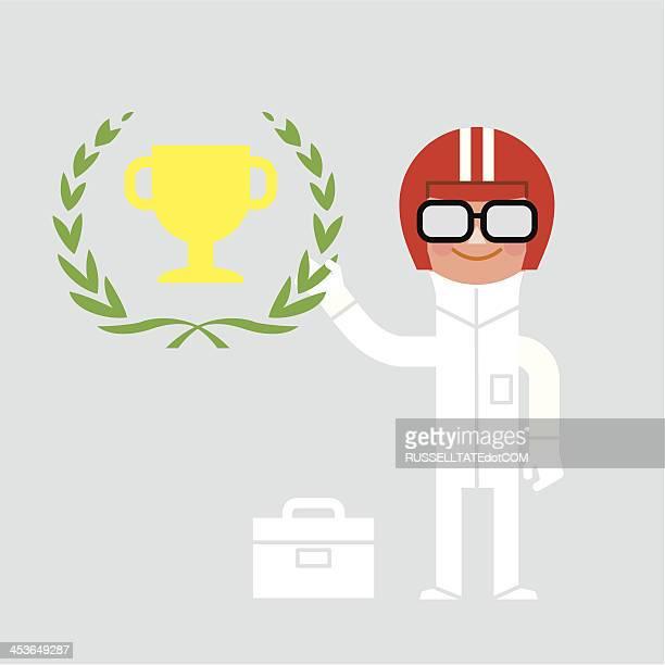 ilustraciones, imágenes clip art, dibujos animados e iconos de stock de infografía carreras hombre - piloto de coches de carrera