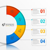 Infographic report template with 4 steps. Vector