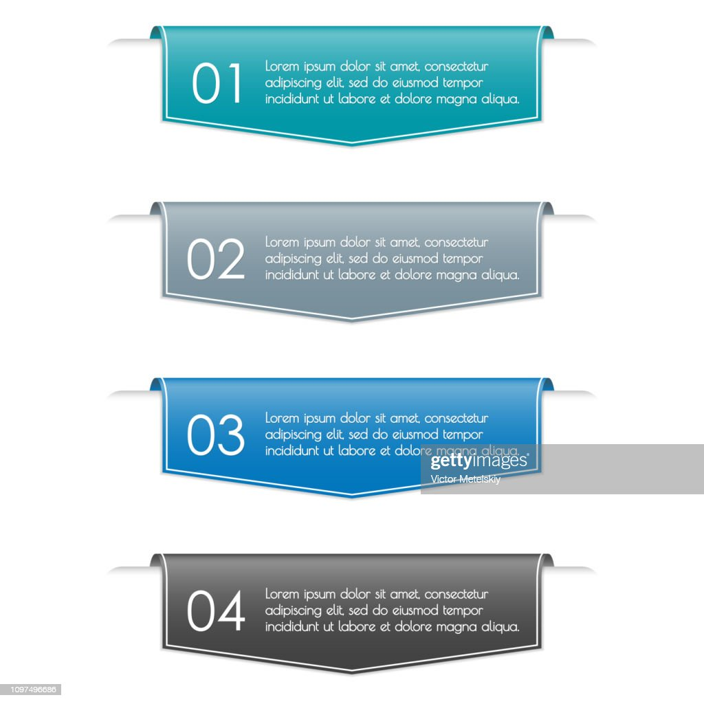 Infographic ribbon banner with 4 steps, sections, options or levels. Modern business presentation concept for brochure and web design. Vector illustration.