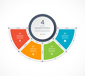 Infographic semi circle in thin line flat style. Business presentation template with 4 options, parts, steps. Can be used for cycle diagram, graph, round chart.