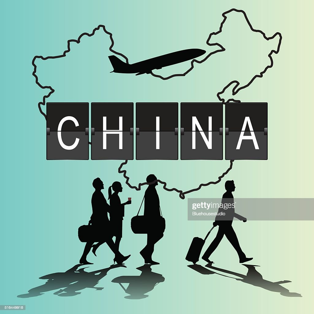 Infographic silhouette people in the airport for china flight