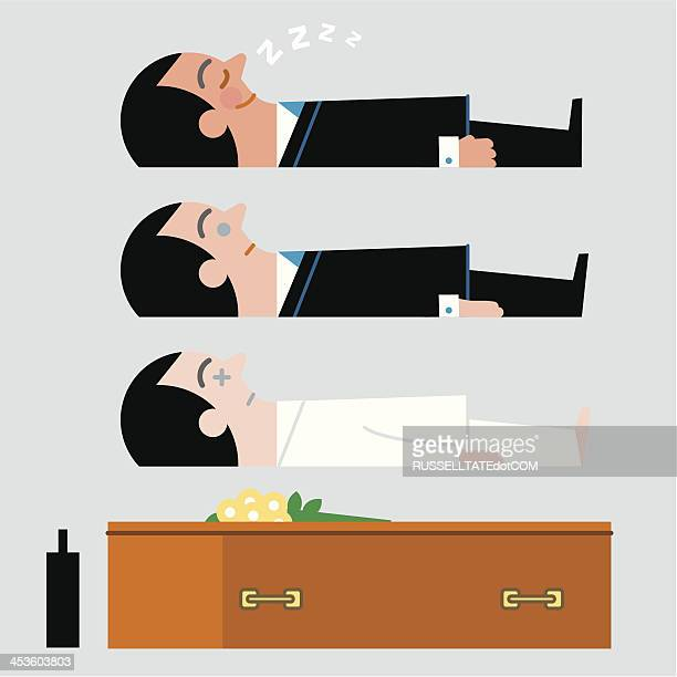 infographic. sleeping …or dead! - rotten com stock illustrations