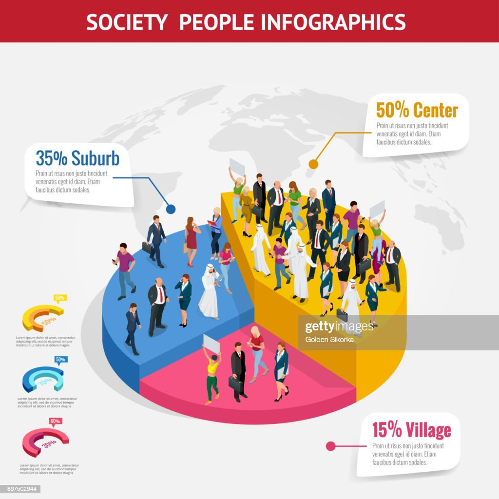 Infographic Society isometric background with people of different occupations. People meeting, discussing, planning, brainstorming at the blackboard