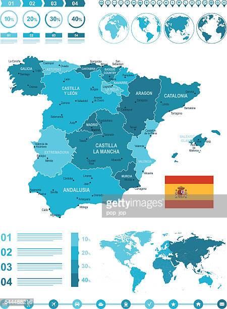 infographic spain map - oviedo stock illustrations, clip art, cartoons, & icons