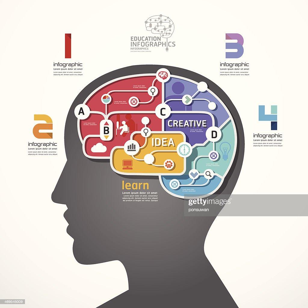 infographic Template brain social line link concept illustration