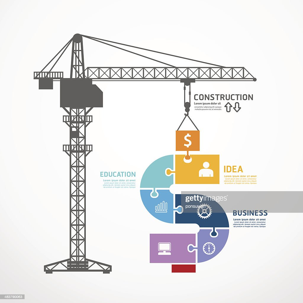 infographic Template with construction tower crane jigsaw banner.