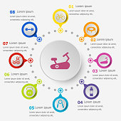 Infographic template with fitness icons
